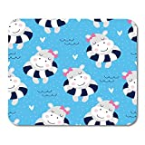 AOHOT Mauspads Blue Animal Cute Hippo Girl Beach Pattern Colorful Summer Adorable Baby Mouse pad 9.5' x 7.9' for Notebooks,Desktop Computers Accessories Mini Office Supplies Mouse Mats