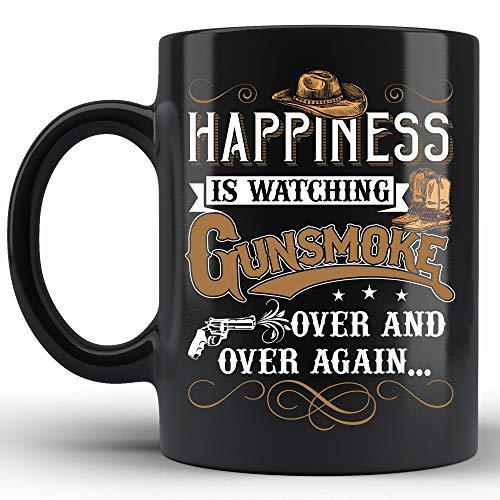 Happiness Is Watching Gun-Smoke Coffee Mugs Black Ceramic 15oz Vintage Mug Gifts for Friends, Drama Lovers, Gamer, Men, Women, Birthday Gift, Mother's Day, Father's Day, Gun-smoke Mugs