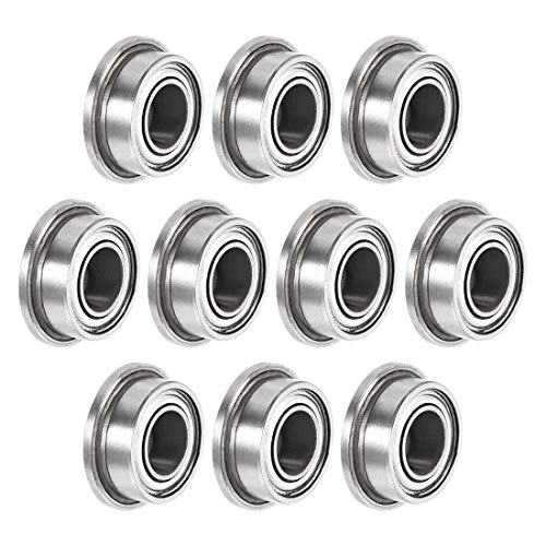 sourcing map MF63zz Flanged Ball Bearing 3x6x2.5mm Double Shielded Chrome Steel Bearings 10pcs