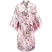 Eplaza Women's Floral Satin Robe Bridal Dressing Gown