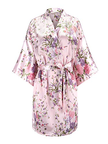 EPLAZA Women Floral Satin Robe Bridal Dressing Gown Wedding Bride Bridesmaid Kimono Sleepwear (Pink, S/M)