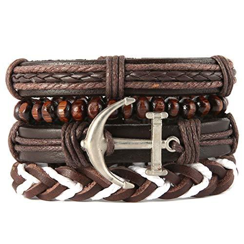 HZMAN Mix 4 Wrap-Around Bracelet Men Women Retro Anchor Twine Wooden Beads Ethnic Tribal Bracelet Leather Wristband