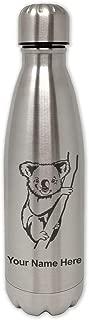 LaserGram Single Wall Stainless Steel Water Bottle, Koala Bear, Personalized Engraving Included