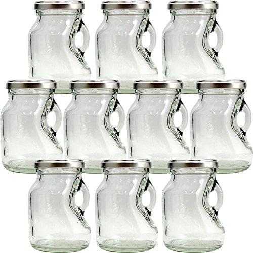 ジャム瓶 T53ミニストック200 200ml -10本セット- ((ふた)銀53RTS-D)