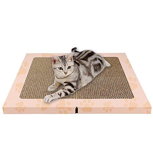Wopohy Almohadilla para rascar para Gatos, Cartón para rascar para Gatos, Alfombrilla para rascadores Bio-Plegable para Gatos, Juguetes para el Cuidado de Las Garras