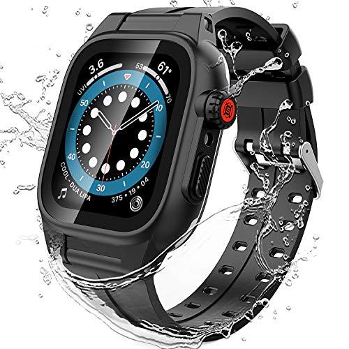 OUCAM Funda para Apple Watch de 44 mm, con protector de pantalla, protección de cuerpo entero para iWatch, resistente a los arañazos, resistente al polvo, color negro de 44 mm