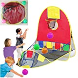 blue--net Portable Ball Shooting Tent, Kid Foldable Pop Up Playing Tent Goal Basketball Hoop Shooting Tent 4 Balls, Indoor Outdoor Large Space Sports Arcade Playhouse 1-6 Years Old boy/Girls
