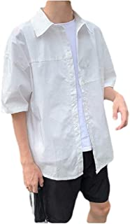 neveraway Men Short-Sleeve Summer Casual Loose Solid Color Button T-Shirt