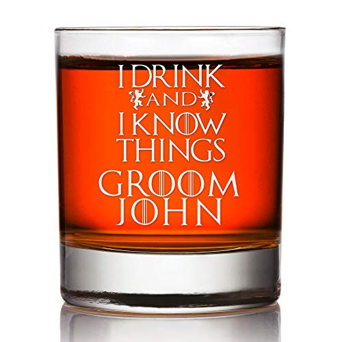 Groom Gift Gepersonaliseerde Whiskey Bril Ik drink en ik weet dingen Game of Thrones Gegraveerde Groomsman Whiskey Glass Custom Rocks