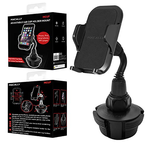 "Macally Cup Holder Phone Mount for Car - Adjustable Neck, Base, & Cradle with Quick Release Button - Fits Phones 1.7"" to 4.1"" Wide & Simple Install - Cell Phone Cup Holder for Car SUV Trucks etc."