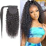 Feelgrace Kinky Curly Human Hair Ponytail Wrap Around Ponytail Extension Kinky Curly Afro Ponytail Clip In Human Hair Extension Natural Looking Black 10A Brazilian Ponytail Hair 14 Inch