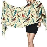 Bufanda de mantón Mujer Chales para, Patrón de pájaro vintage Bufanda cálida de invierno para mujer Moda Bufandas largas y grandes de cachemira suave Bufandas
