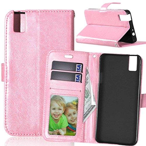 Qiaogle Telefono Case - Custodia in Pelle PU Basamento Custodia Protettiva Cover per Huawei ShotX/Honor 7i (5.2 Pollici) - DK08 / Pink Stile di Affari di Modo