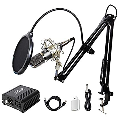 TONOR Condenser Microphone XLR to 3.5mm with USB Cable Recording Microphone Kit PC Mics with 48V Phantom Power Supply, Boom Scissor Arm Stand with Shock Mount black