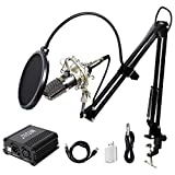 TONOR XLR 3.5mm Micrófono Condensador Profesional para Computadora Podcast Estudio con Soporte de Micrófono Ajustable Filtro Anti-Pop 48V Phantom...