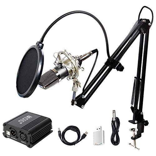 TONOR Condenser Microphone XLR to 3.5mm with USB Cable Recording Microphone Kit PC Mics with 48V...