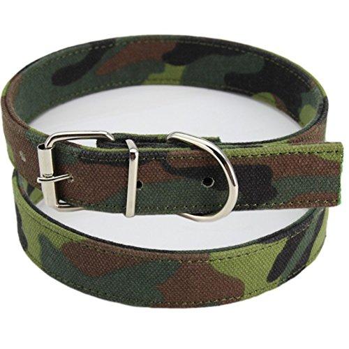 Ukallaite Weiches Halsband für Hunde und Katzen, Haustier-Zubehör, Haustier-Geschenk, verstellbar, Tarnmuster, Segeltuch, Outdoor-Training, Hunde-Halsband