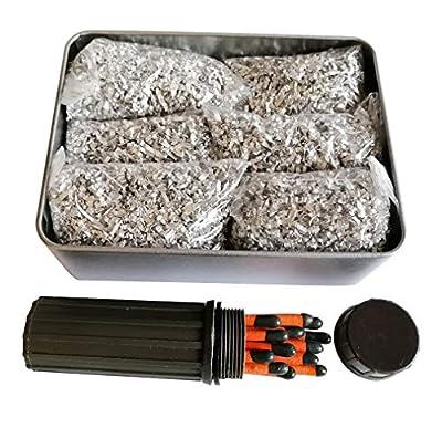 Jet Emergency Fire Starter Magnesium 6 Bags+1Free Tin Box&Match Kit Camping Hiking Bushcraft (Large Tin&6Bags Mag + Windproof Match Kit)