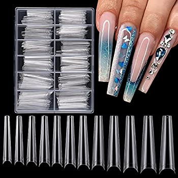 240pc Extra Long Coffin Acrylic Nail Art Tips Clear French Ballerina XXL False Artificial Nails Half Cover Fake Nails Gel Polish Nail Art Designs Decor 10 Sizes with Case  XL Coffin Half Cover