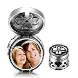 ❤ Birthday Gifts for Girls ❤ Customized and Personalized Photo Charms Sterling Silver Charm Beads Locket(I love you to the Moon and back)