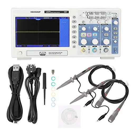 Osciloscopio digital, AC110-240V Hantek DSO5202P Osciloscopio de almacenamiento digital 200MHz 2 canales 1GSa/s