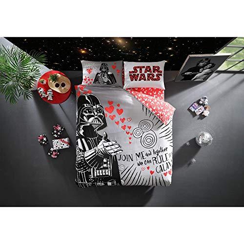 TI Home Con licenza originale Star Wars San Valentino, set copripiumino, 100% cotone, matrimoniale, 4pezzi