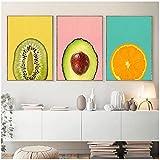 Shmjql Obst Leinwand Gemälde Kiwi Orange Avocado Poster