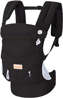 抱っこ紐 対面抱き 前向き抱き おんぶ紐 軽量 収納 簡単 抱っこひも 疲れにくい腰サポート付 新生児から3歳まで、ブラック