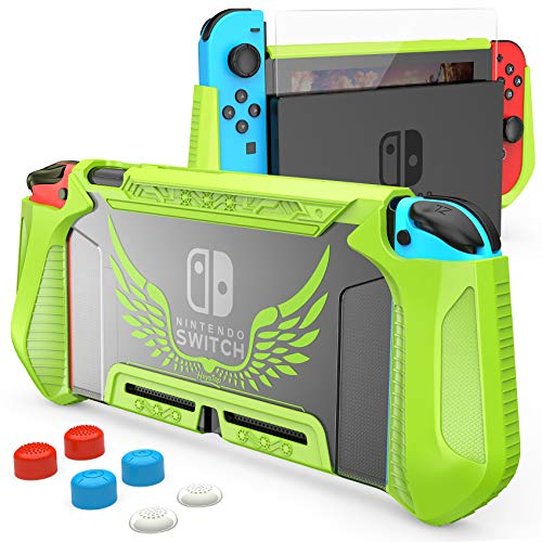 HEYSTOP Case Compatible with Nintendo Switch Case Screen Protector,TPU Protective Heavy Duty Cover Case for Nintendo Switch with Shock Absorption and Anti-Scratch (Green)