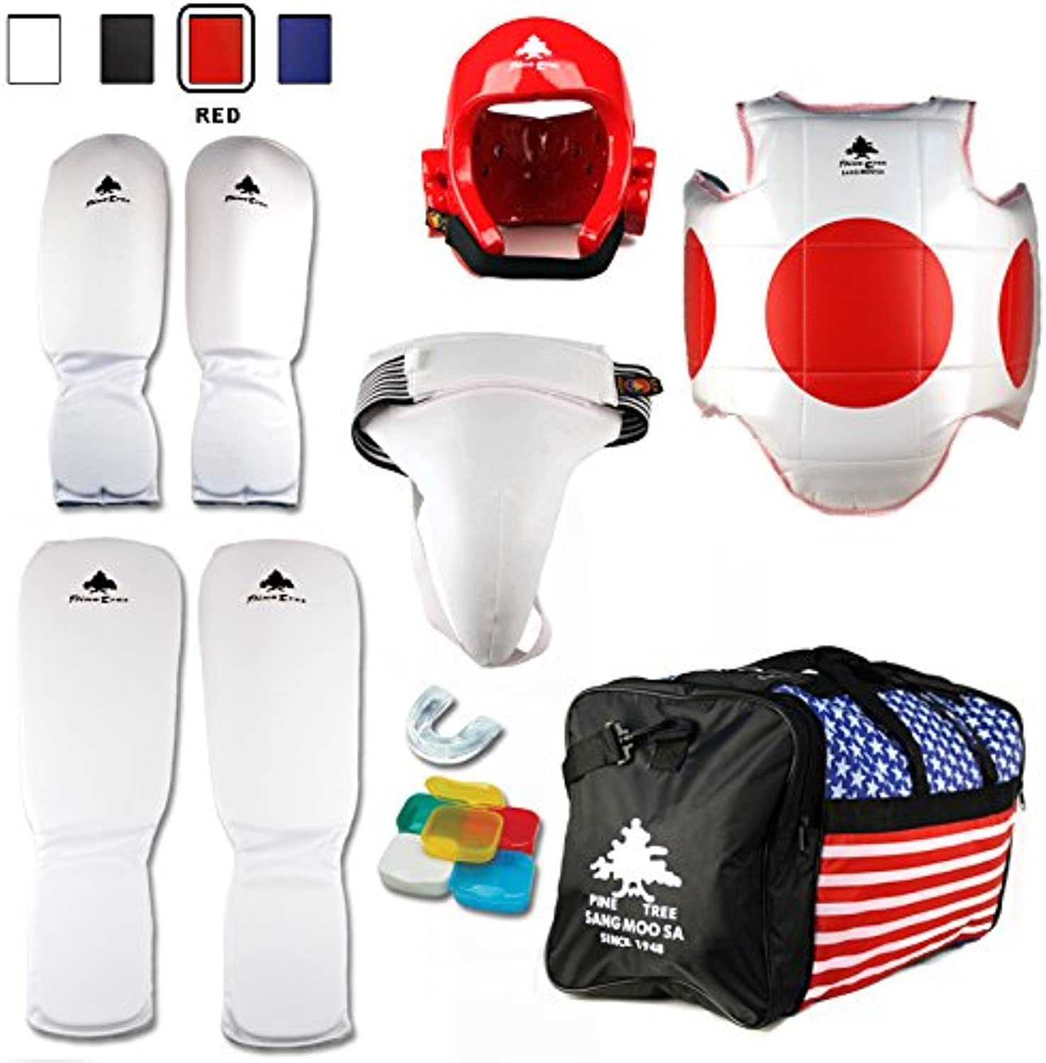 Pine Tree Complete Cloth Martial Arts Sparring Gear Set with Bag & Groin