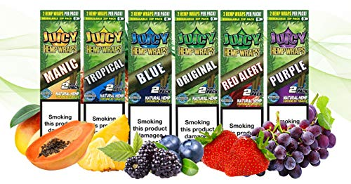 Juicy Jay's Wraps Bundle Pack of Mixed Flavours – 6 packs of 2 for 12 total wraps – The best Flavoured Hemp Wraps…