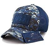 Military US Army/Navy Blue Digital Camo Vintage Cotton Cap USA Flag Patch Trucker Mesh Baseball Hat Dad Hat Army Gear