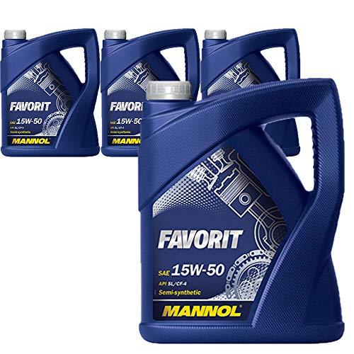 MANNOL 4 * 5 litros, Favorit 15W-50 API SL/CF-4
