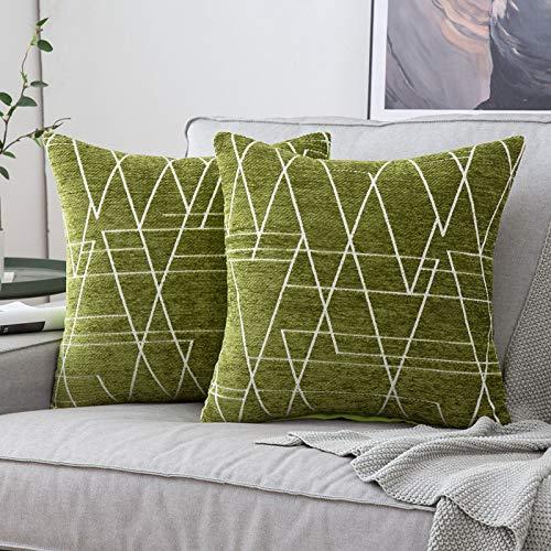 MIULEE 2 Piezas Fundas de Cojines para sofá Gamuza Sintética Almohada Caso de Diseño Geométrico Decorativas Fundas Cojines para Habitacion Juvenil Sofá Comedor Cama 40x40cm Verde