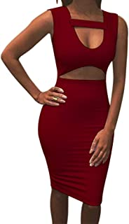 Allegrace Women Sexy Stretch Bodycon Mid Bandage Party Dress