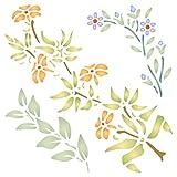 Plantilla reutilizable de flores de escalada con diseño de flora – Uso en proyectos de papel, álbumes de recortes, diarios, paredes de suelos, muebles de tela, cristal, madera, etc. small