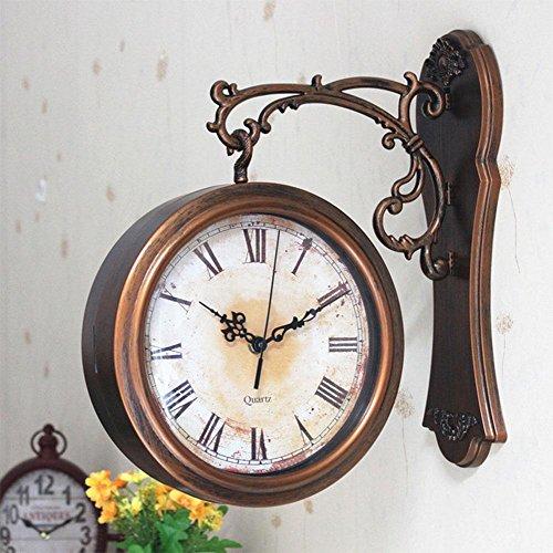 NAOZHON Zweiseitige Wanduhr Uhr stumm Wohnzimmer große zweiseitige kreative Persönlichkeit idyllischen Quarzuhren