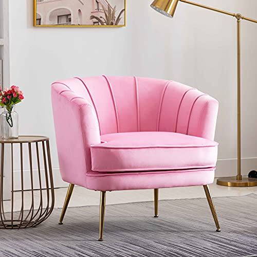 Altrobene Velvet Modern Accent Chair Barrel Room Decor Club Armchair Comfy Tufted Adult Chair with Gold Legs for Living Room, Bedroom, Office, Mauve Pink