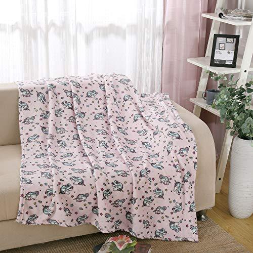 i-baby Kinder Decken Mädchen Fleece Decke Großer Teenager Bettdecke Jugendlich Warme Plüsch Babydecken, Weich Super Gemütlich Kinderbettdecke,127x152cm (Einhorn)