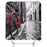 N / A Hochwertiger Duschvorhang Retro Vintage rotes Fahrrad auf Kopfsteinpflaster schwarz weiß Architektur Polyester wasserdicht Badewanne Vorhang-B180cmxH200cm