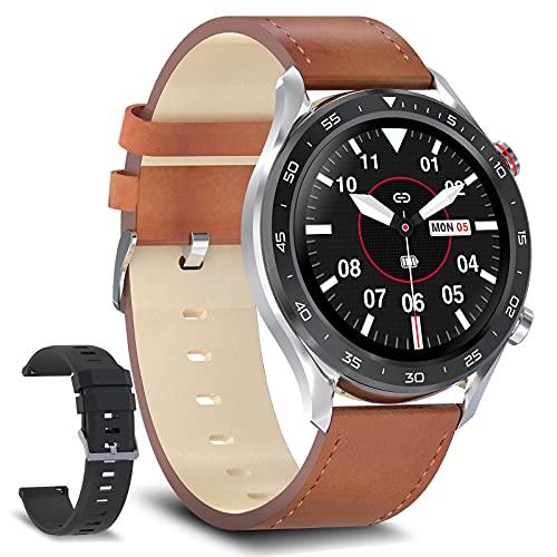 Bebinca Smartwatch para Hombres 1.28'Hacer y Recibir Llamadas Manos Libres, Altavoz Bluetooth con Reproductor de música 128 MB Reloj Inteligente Fitness Tracker 3ATM Impermeable iOS/Android(Acero)