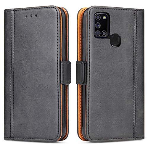 Bozon Handyhülle für Galaxy A21s, Lederhülle mit Kartenfächer, Schutzhülle mit Standfunktion, Klapphülle Tasche für Samsung Galaxy A21s (Schwarz)
