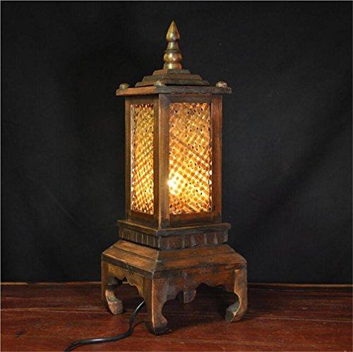 Elegance Lamp voor tafel van massief Thais hout, creatief licht, retro-stijl, eenvoudige slaapkamer, houten zijde, imitatie, Zuidoost-Aziatische stijl, handgemaakt