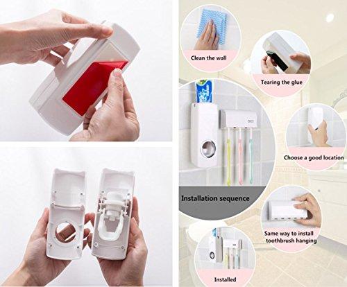 Conjunto de dispensador de pasta de dientes y organizador de cepillos de