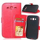 JEEXIA Funda para Samsung Galaxy Grand Neo Plus/Grand Neo (i9060), Moda Business Flip Wallet Case Cover PU Cuero con Soporte Cubierta Protectora - Rojo