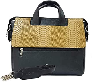 Monza Italy Laptop Cum Office Leather Bag Unisex/Camel Black Color