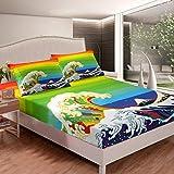 Loussiesd Juego de sábanas onduladas, juego de cama para niños, adolescentes, japonés, estilo japonés, funda de cama de estilo japonés, decoración de dormitorio, 3 piezas, tamaño King