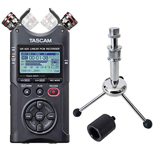 Tascam DR-40X - Grabadora de audio (incluye trípode Keepdrum y adaptador de trípode)
