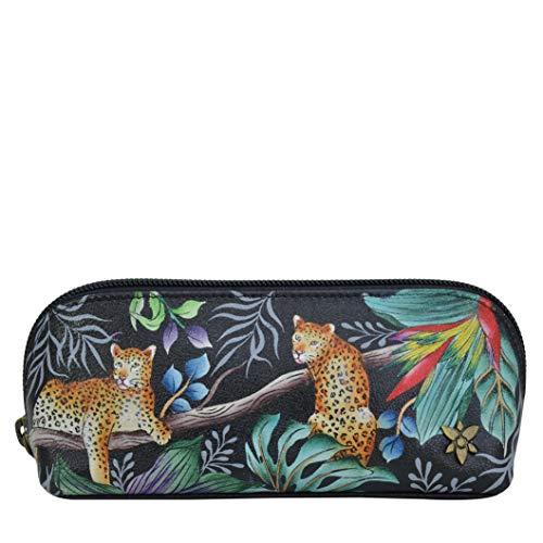 Anuschka Bolsa mediana de piel auténtica con cremallera para gafas o cosméticos para mujer - Exterior pintado a mano - Jungle Queen