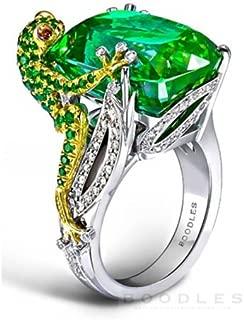 Panwa Jewelry 6.8CT Emerald Frog 925 Silver Women Jewelry Wedding Engagement Ring Size 6-10 (6)